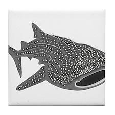 whale shark diver diving scuba Tile Coaster