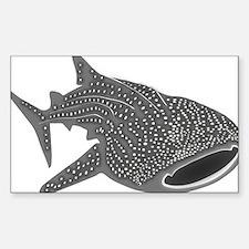 whale shark diver diving scuba Sticker (Rectangle)