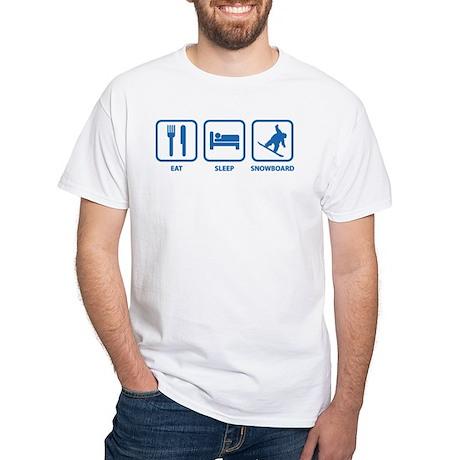 Eat Sleep Snowboard White T-Shirt