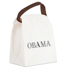 Obama text Cram transparent.png Canvas Lunch Bag
