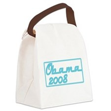 Obama blue neon sign.png Canvas Lunch Bag