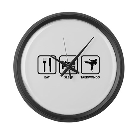 Eat Sleep Taekwondo Large Wall Clock