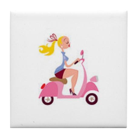 Lady Loves Pink Tile Coaster