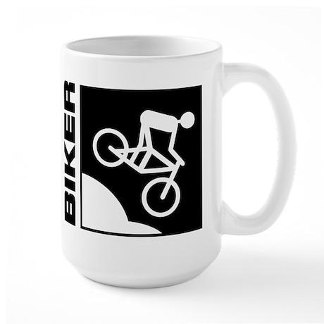 biker cycling mountain bike mtb downhill Large Mug