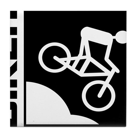biker cycling mountain bike mtb downhill Tile Coas