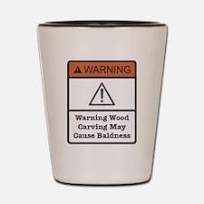 Bald Warning Sign Shot Glass