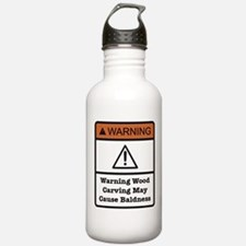 Bald Warning Sign Water Bottle