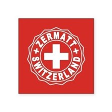 "Zermatt White Cross Square Sticker 3"" x 3"""