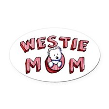 Westie Mom (Red) Oval Car Magnet