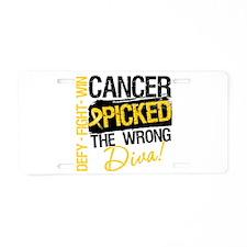 Childhood Cancer Wrong Diva Aluminum License Plate