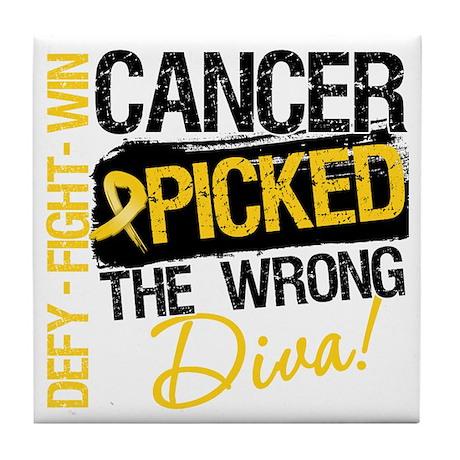 Childhood Cancer Wrong Diva Tile Coaster