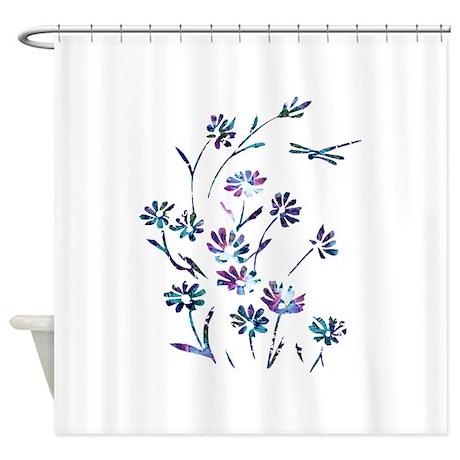 Daisy Dragonfly Harmony Shower Curtain