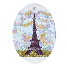 6x6in Sky And Eiffel Tower Pointillism Ornament (O