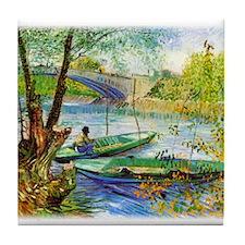 Fishing in Spring Tile Coaster