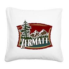 Zermatt Mountain Banner Square Canvas Pillow