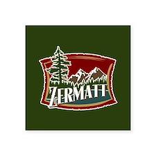"""Zermatt Mountain Banner Square Sticker 3"""" x 3"""""""