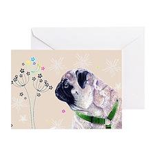 Pug Flowers Greeting Card
