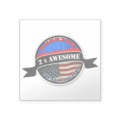 Russian American 2 x Awesome Square Sticker 3&quot