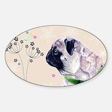 Pug Flowers Sticker (Oval)