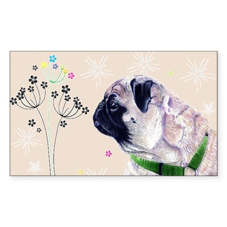 Pug Flowers Sticker (Rectangle)