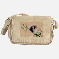 Pug Flowers Messenger Bag