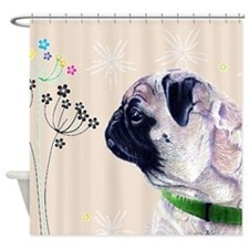 Pug and Flowers Shower Curtain