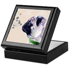Pug and Flowers Keepsake Box