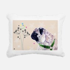 Pug Flowers Rectangular Canvas Pillow