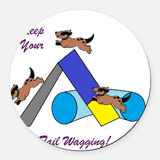 Keep Wagging Round Car Magnet
