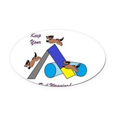 Keep Wagging Oval Car Magnet