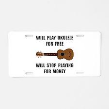 Ukulele Playing Aluminum License Plate