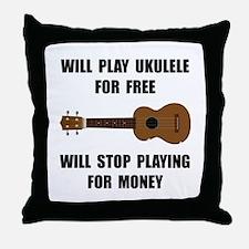 Ukulele Playing Throw Pillow