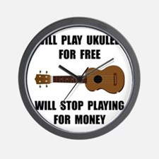Ukulele Playing Wall Clock
