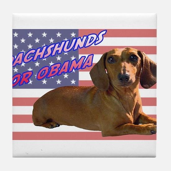 Flag Dachshund Tile Coaster