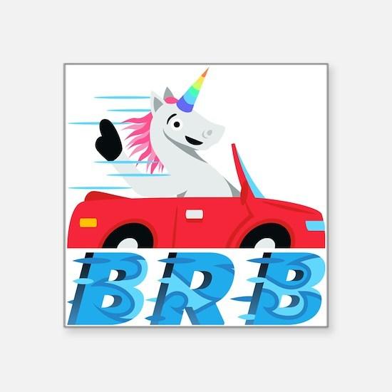 "Emoji Unicorn BRB Square Sticker 3"" x 3"""