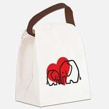 I Love Elephants Canvas Lunch Bag