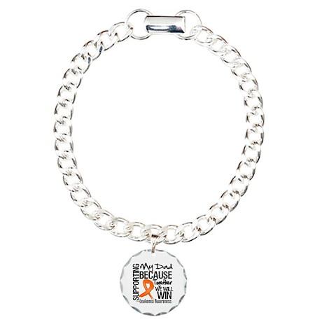 Support Dad Leukemia Charm Bracelet, One Charm