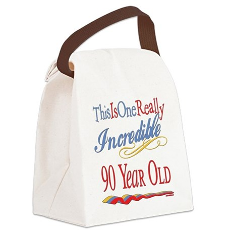 Incredibleat90.png Canvas Lunch Bag