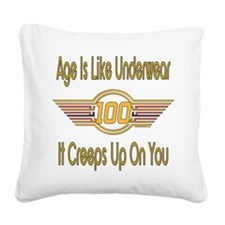 BirthdayUnderwear100 copy.png Square Canvas Pillow