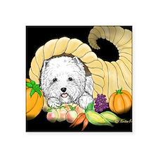 """Thanksgiving Westie Square Sticker 3"""" x 3"""""""