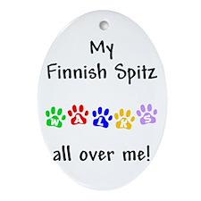Finnish Spitz Walks Oval Ornament