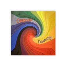 Celebrate Diversity small square Square Sticker 3""