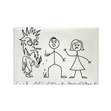 Sick of Stick People burn Rectangle Magnet