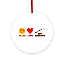 Peace Love My Shotgun Ornament (Round)