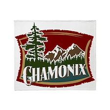 Chamonix Mountain Banner Throw Blanket