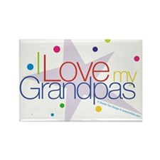 """I Love My Grandpas"" Rectangle Magnet"