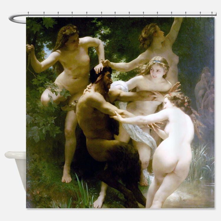 Bouguereau Nymphs and Satyr Shower Curtain