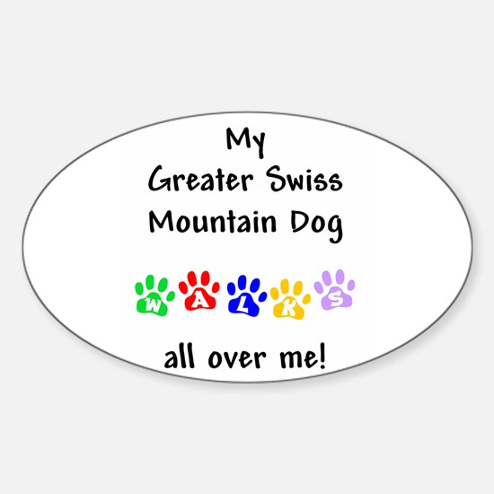 Swissy Walks Oval Decal