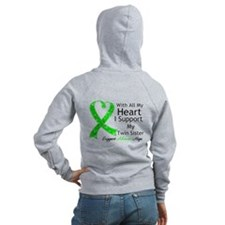 Support Twin Sister Green Ribbon Zip Hoodie