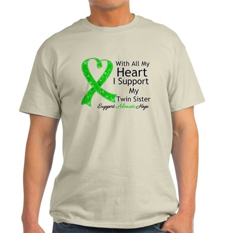 Support Twin Sister Green Ribbon Light T-Shirt